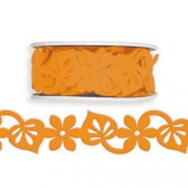 Ruban en feutre fleur/feuille, orange, 25mm/2m