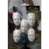 Plaster face African man 4.5cm, 5 pcs
