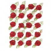 Petites roses sur noeud, 10mm/20pcs, rouge