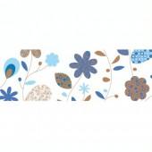 """Papier transparent """"Landhausblumen"""" bleu"""