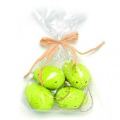 Plastic eggs, green, 6 pcs, 5cm