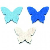 Wooden Butterflies, 3cm, blue/white, 12 pcs