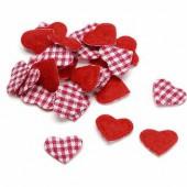 Coeurs en tissu rouge/vichy, 1.5cm, 48 pcs