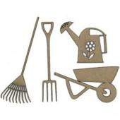 Outils de jardin, 4 pcs, 5-11.5x2-9cm