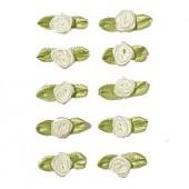 Petites roses sur noeud, 10mm/10pcs, blanc