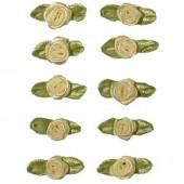 Petites roses sur noeud, 10mm/10pcs, crème