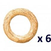 Lot de 6 couronnes de paille  Ø20cm