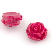 Resin roses, 15mm, pink, 5 pcs