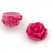 Roses en résine, 15mm, fuchsia, 5pcs