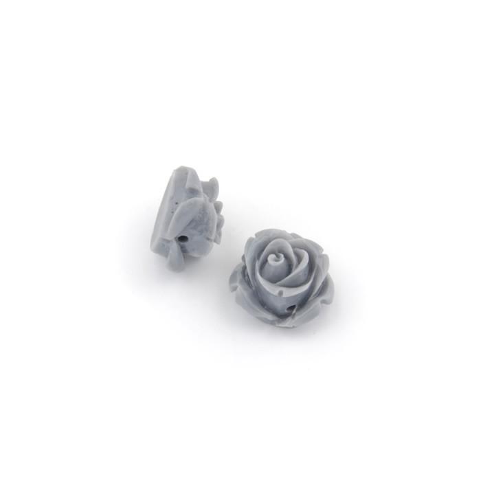 Resin roses, 15mm, grey, 5 pcs