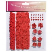 Pom poms & Flowers Embellishment, rouge