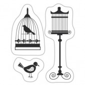 Mini tampon transparent Birds with cage