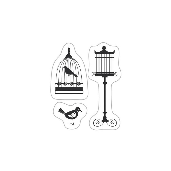 Clear stamp - Birds with cage
