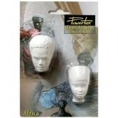 Plaster face African man+woman 5x3cm, 5 pcs
