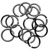 Jump rings black, 6mm, 6 pieces