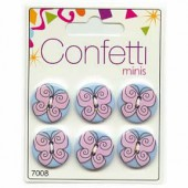 Buttons Confetti Minis - Butterfly, 6 pcs