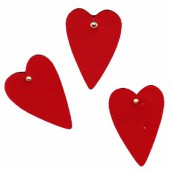 Felt hearts with eyelet, 50x75mm, red, 6 pcs