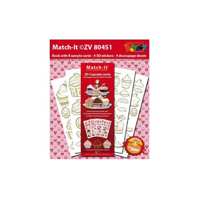 Doodley Match it - 3D-Cupcake cards