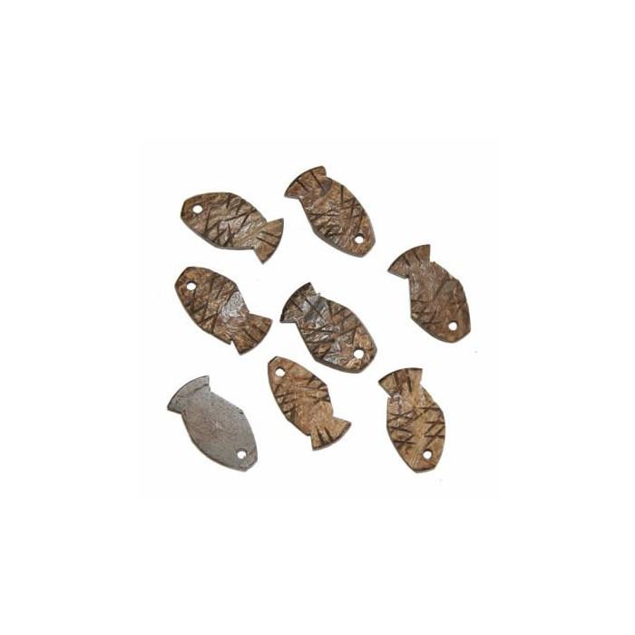 Décoration en bois de coco forme poisson, 25mm, brun