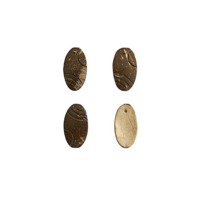 Coco decoration, oval, 30mm, brown