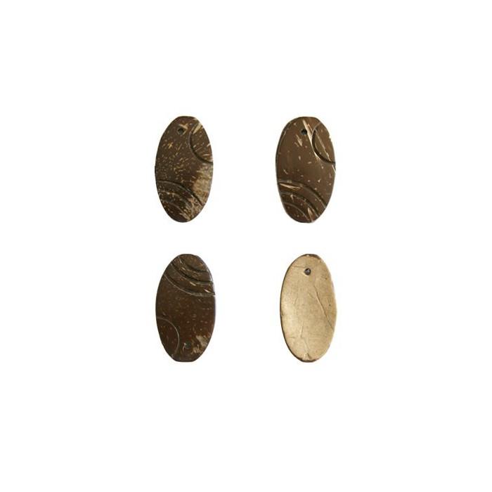 Décoration en bois de coco forme ovale, 30mm, brun