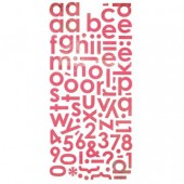 Basic Grey - Monogram stickers, rouge