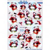 Feuille de découpage 3D pingouins
