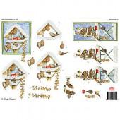 Feuille de découpage 3D maison oiseaux