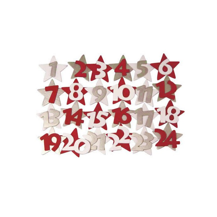 Wooden numbers from 1 to 24, silver / red