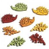 Hérissons et feuilles en bois, 4.5cm, 8 pcs