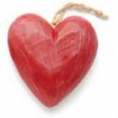 Coeur en bois rouge, 5x4.5x2.5cm