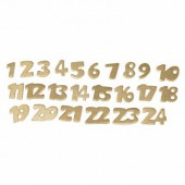 Cardboard numbers gold from 1 to 24, 2cm