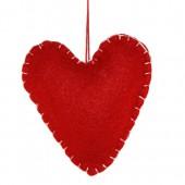 Coeur en feutrine rouge 9x10x3cm