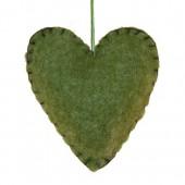 Coeur en feutrine vert 9x10x3cm