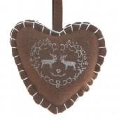 Coeur en feutrine brun avec renne 11cm