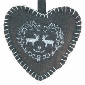 Coeur en feutrine gris avec renne 11cm