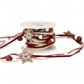 Stars garland with cord and pearls, 2m, dark red