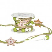 Stars garland with cord and pearls, 2m, green