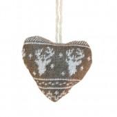 Coeur style nordique, 7x7cm, brun