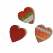 Hearts red/green, 3.7cm, 8 pcs