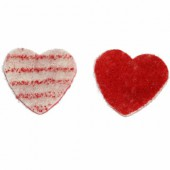 Bicolor Felt hearts, red/white, 3.6cm, 14 pcs