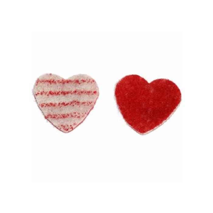 Bicolor Felt hearts, red/white, 3.6cm, 14 pcs