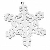 Wooden white snowflake, 10cm