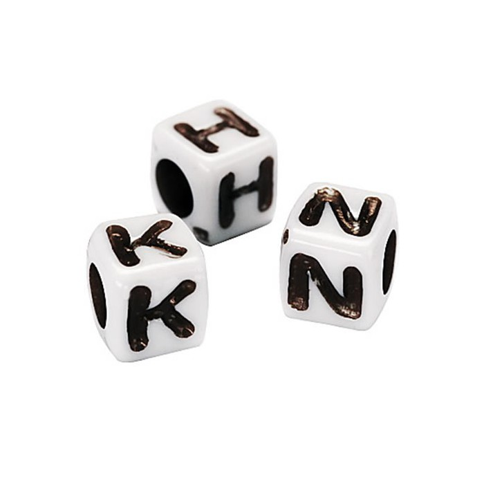 Plastic Bead Letters, white with black letters