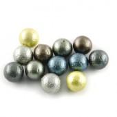 Perles rondes nacrées gris-vert, 8mm, +/-48pcs