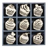 Elements déco en bois : cupcakes