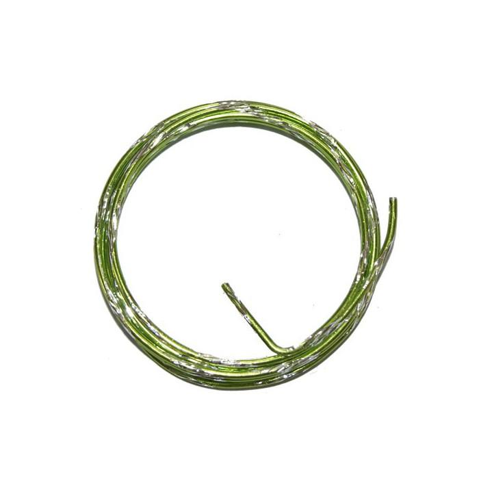 Bicolor alu wire, Ø 2mm/2m, green/silver