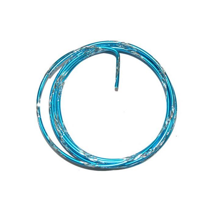 Bicolor alu wire, Ø 2mm/2m, turquese/silver