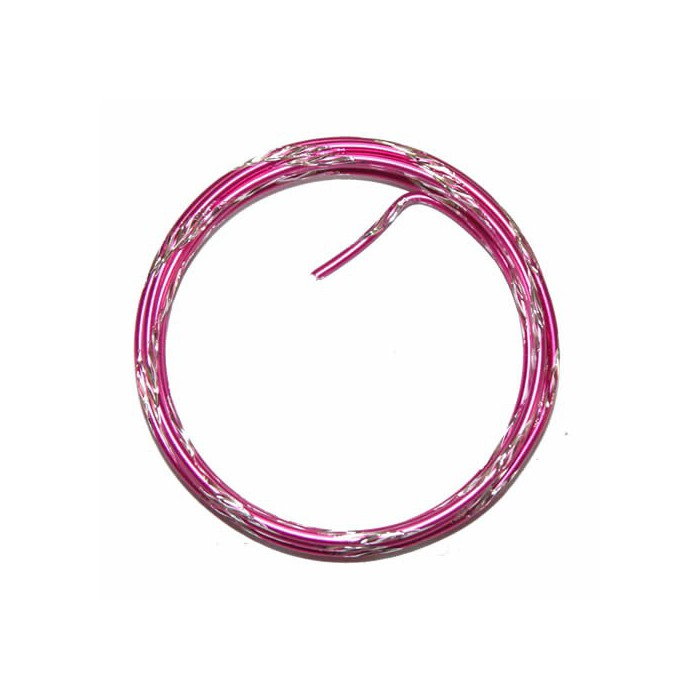 Bicolor alu wire, Ø 2mm/2m, pink/silver