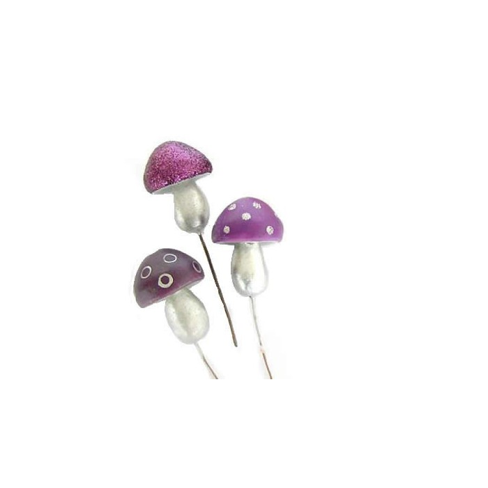 Funky mushrooms, purple mix, 5cm, 3 pcs